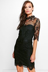 Boohoo Audrina Lace 3 4 Sleeve Bodycon Dress Black