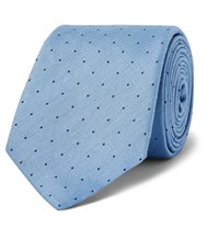 Dunhill 8Cm Polka Dot Mulberry Silk And Linen Blend Tie Blue