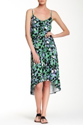 Tori Richard Anna Printed Hi Lo Dress Green