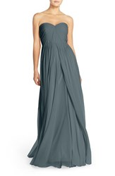 Jenny Yoo Women's Mira Convertible Strapless Pleat Chiffon Gown Denmark Blue