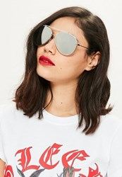 Missguided Silver Frame Mirrored Aviator Sunglasses