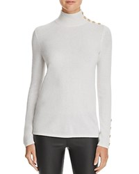 Bloomingdale's C By Button Mock Neck Cashmere Sweater Snow