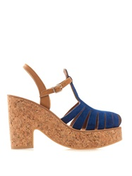 K. Jacques Melissa Suede And Cork Wedges