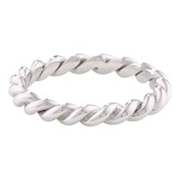 London Road 9Ct Gold Stacking Rope Ring N Silver