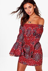 Boohoo Claire Woven Paisley Off The Shoulder Dress Red