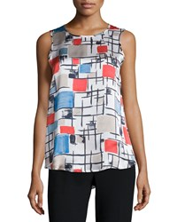 Peserico Sleeveless Round Neck Printed Top Multi Colors