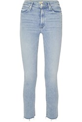 Mother Dazzler Cropped Distressed High Rise Skinny Leg Jeans Light Denim