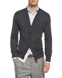 Brunello Cucinelli Wool Blend Knit Cardigan Dark Gray