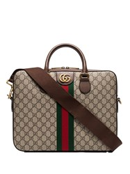 Gucci Gg Supreme Monogram Briefcase Brown