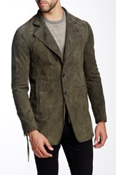 John Varvatos Genuine Goat Suede Notch Lapel Jacket Green