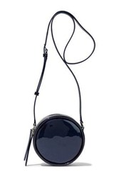 Kara Metallic Patent Leather Shoulder Bag Midnight Blue