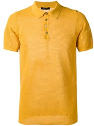 Roberto Collina Textured Polo Shirt Yellow Orange