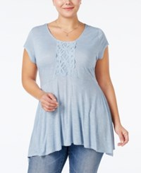 Eyeshadow Plus Size Embellished Swing Top Bleached Blue
