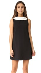 Alice Olivia Bellini Shift Dress With Collar Black Off White