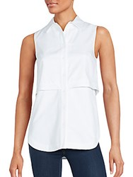 Proenza Schouler Sleeveless Button Down Popover Shirt White
