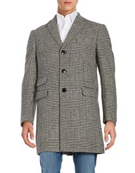 Tallia Orange Houndstooth Wool Blend Coat Black White
