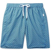 Onia Long Length Printed Shell Swim Shorts Blue