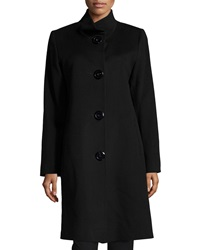 Fleurette Stand Collar Four Button Wool Coat Black