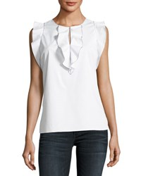 Elie Tahari Betty Ruffle Trim Flutter Sleeve Blouse White