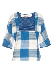 Ace And Jig Popham Woven Cotton Top Blue White