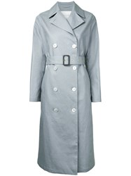 Mackintosh Maxi Length Trench Coat Women Linen Flax 34 Grey