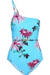 Diane Von Furstenberg Woman One Shoulder Belted Floral Print Swimsuit Turquoise