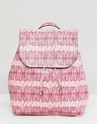 Pieces Coloured Snake Print Backpack Pink
