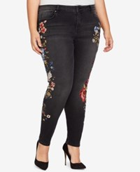 William Rast Plus Size Perfect Embroidered Skinny Jeans Charcoal