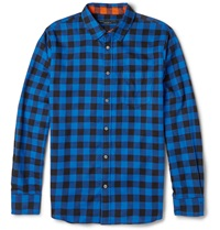 Marc By Marc Jacobs Lucas Checked Cotton Flannel Shirt Blue