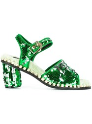Suecomma Bonnie Sequined Buckled Sandals Green