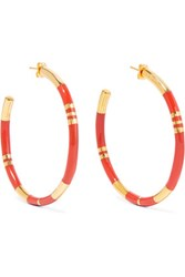 Aurelie Bidermann Gold Plated And Resin Earrings Red