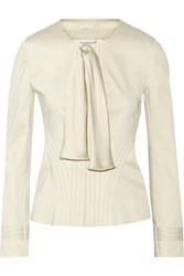 Valentino Bow Embellished Cotton Blend Blazer Nude