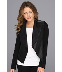 Kut From The Kloth Faux Leather Drape Jacket Black Women's Jacket