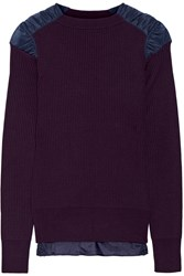 Sacai Satin Paneled Ribbed Cotton Sweater Grape
