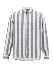 Saturdays Surf Nyc Perry Candy Striped Patch Pocket Lyocell Shirt Black White