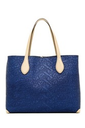 Abro Woven Leather Tote Blue