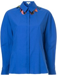 Delpozo Embellished Collar Shirt Cotton Blue
