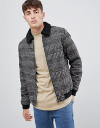 Solid Borg Collar Worker Jacket In Pow Check Black 9000
