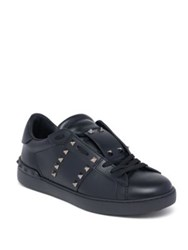 Valentino Studded Leather Lace Up Sneakers Black