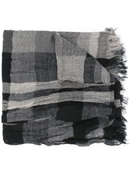 Y's Fringed Check Scarf Women Cotton Linen Flax One Size Black