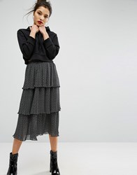 Asos Midi Skirt With Pleated Tiers And Spot Print Black And White Spot