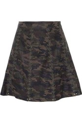Haute Hippie Eyelet Embellished Printed Leather Mini Skirt Army Green