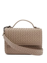 Bottega Veneta Intrecciato Woven Leather Satchel Grey