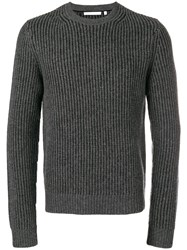 Helmut Lang Ribbed Knit Sweater Grey