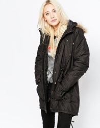 Brave Soul Metallic Thread Parka With Faux Fur Hood Black