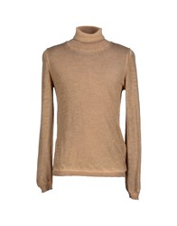 Black Flower Knitwear Turtlenecks Men Camel