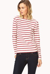 Forever 21 Striped Boat Neck Tee Oatmeal Red