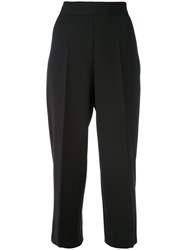 Blugirl Cropped Wide Leg Trousers Women Polyester Spandex Elastane 40 Black