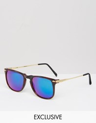Reclaimed Vintage Square Sunglasses In Tort With Blue Lens Brown