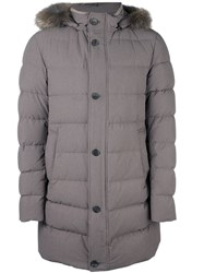 Herno Fur Trimmed Padded Coat Grey